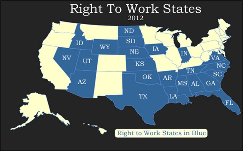 Right To Work States Map 2016.Right To Work States Or Forced Union Due States Unpoliticallycorrect
